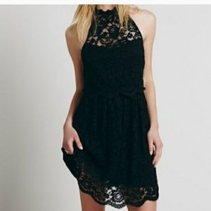 Free People Black Lace Halter Dress.